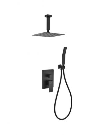 "Aqua Piazza Black Shower Set w/ 8"" Ceiling Mount Square Rain Shower and Handheld"