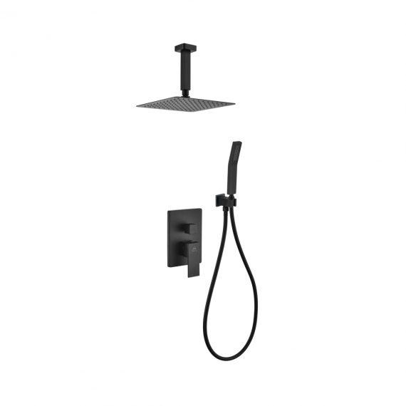 "Aqua Piazza Black Shower Set w/ 8"" Ceiling Mount Square Rain Shower and Handheld"