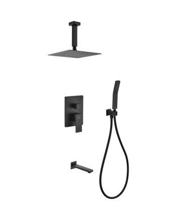 "Aqua Piazza Black Shower Set w/ 8"" Ceiling Mount Square Rain Shower, Handheld and Tub Filler"