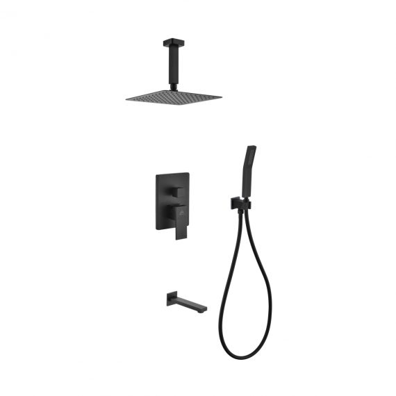 "Aqua Piazza Black Shower Set w/ 8"" Ceiling Mount Square Rain Shower, Handheld and Tub Filler"