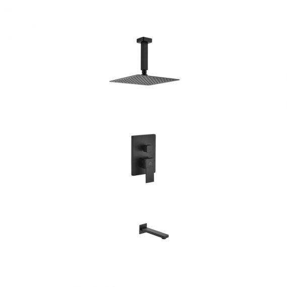 "Aqua Piazza Black Shower Set w/ 8"" Ceiling Mount Square Rain Shower and Tub Filler"
