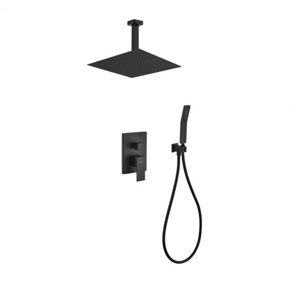 "Aqua Piazza Black Shower Set w/ 12"" Ceiling Mount Square Rain Shower and Handheld"