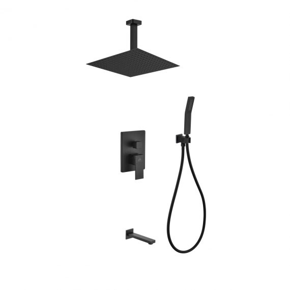 "Aqua Piazza Black Shower Set w/ 12"" Ceiling Mount Square Rain Shower, Handheld and Tub Filler"