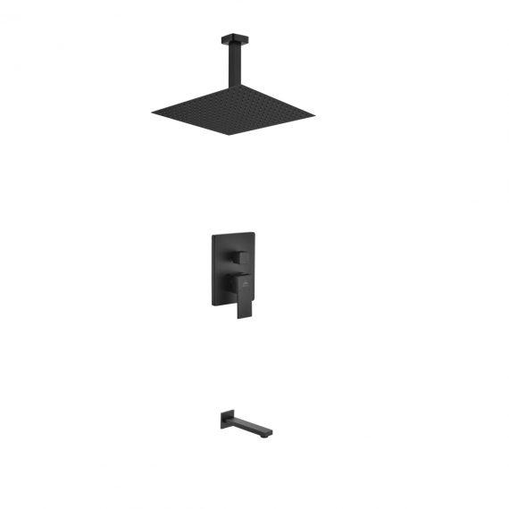 "Aqua Piazza Black Shower Set w/ 12"" Ceiling Mount Square Rain Shower and Tub Filler"