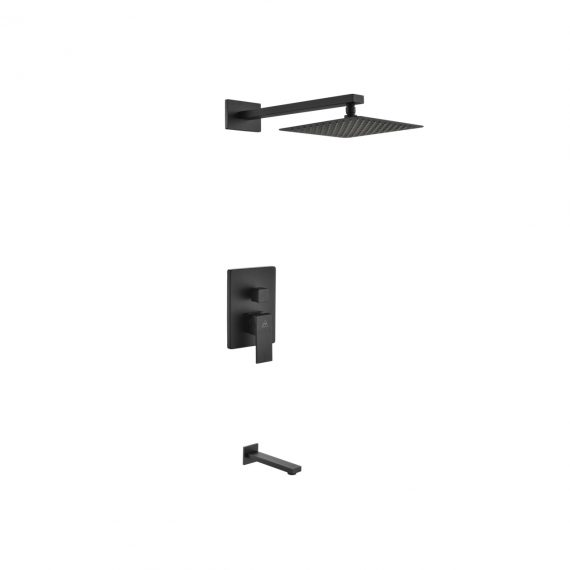 "Aqua Piazza Black Shower Set w/ 8"" Square Rain Shower and Tub Filler"