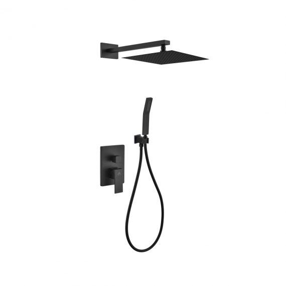 "Aqua Piazza Black Shower Set w/ 12"" Square Rain Shower and Handheld"