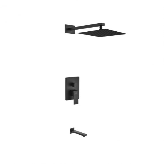"Aqua Piazza Black Shower Set w/ 12"" Square Rain Shower and Tub Filler"