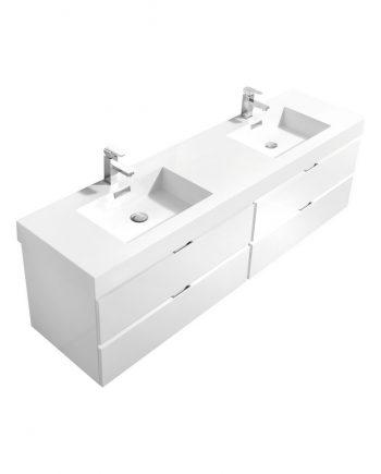 "Bliss 72"" High Gloss White Wall Mount Single Sink Modern Bathroom Vanity"