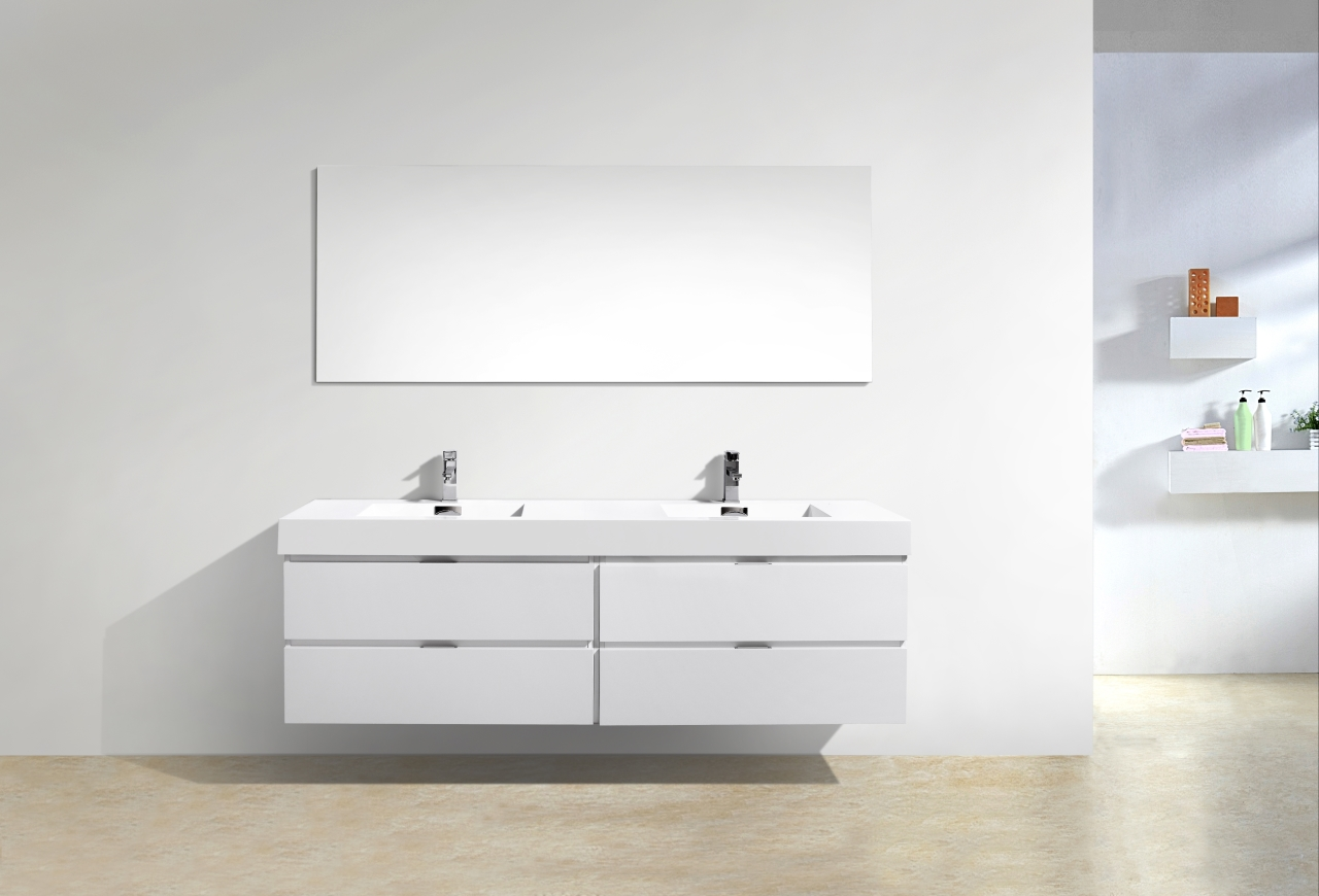 Bliss 72 Quot High Gloss White Wall Mount Single Sink Vanity