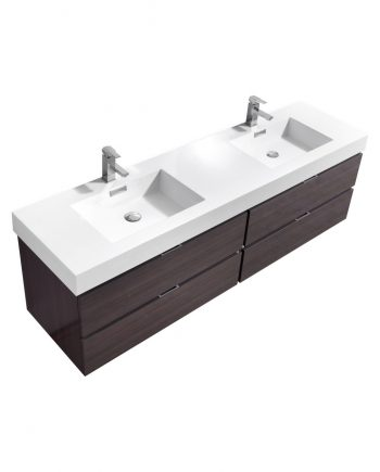 "Bliss 72"" High Gloss Gray Oak Wall Mount Double Sink Modern Bathroom Vanity"