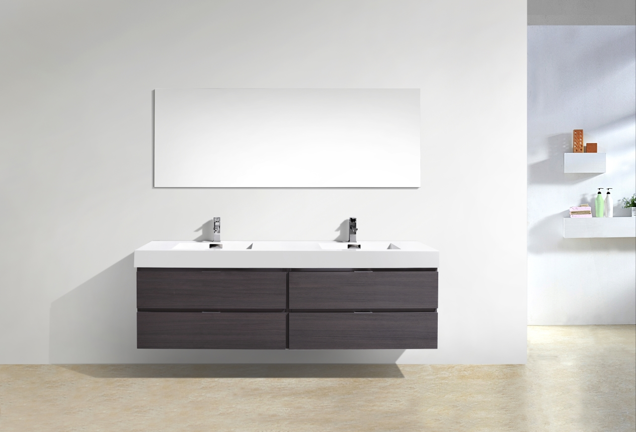 "Bliss 72"" High Gloss Gray Oak Wall Mount Double Sink Vanity"