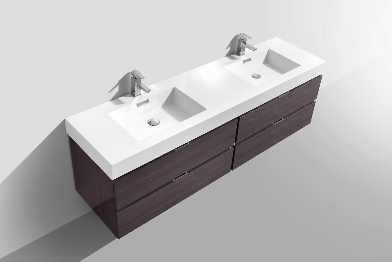 Bliss 72 Quot High Gloss Gray Oak Wall Mount Double Sink Vanity
