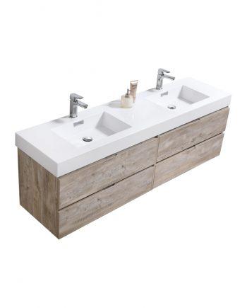 "Bliss 72"" Nature Wood Wall Mount Double Sink Modern Bathroom Vanity"