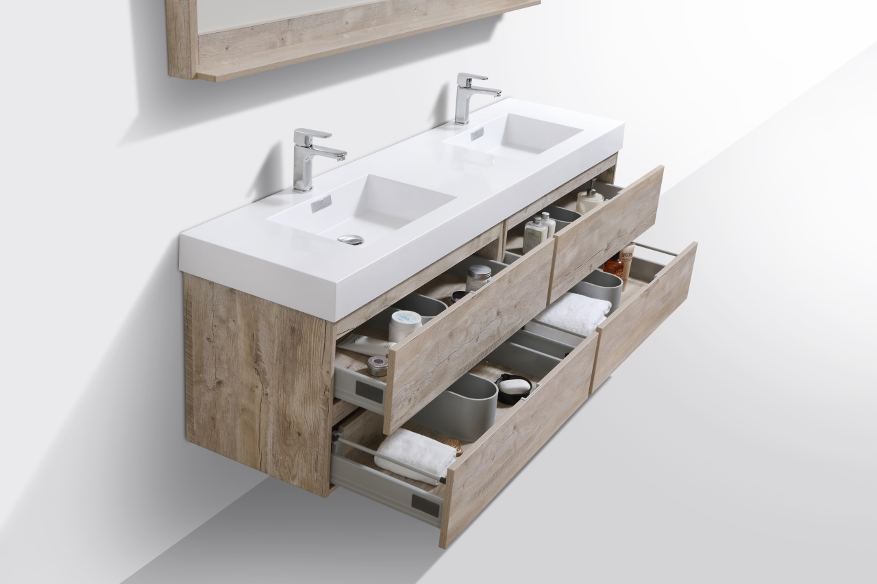 Bliss 72 Quot Nature Wood Wall Mount Double Sink Modern