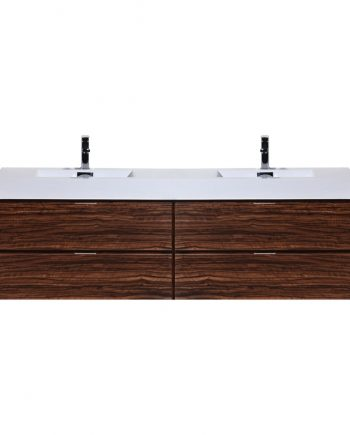 "Bliss 72"" Walnut Wall Mount Double Sink Modern Bathroom Vanity"