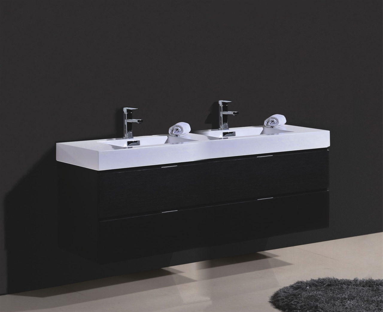 "bliss 80"" black wall mount double sink modern bathroom vanity"
