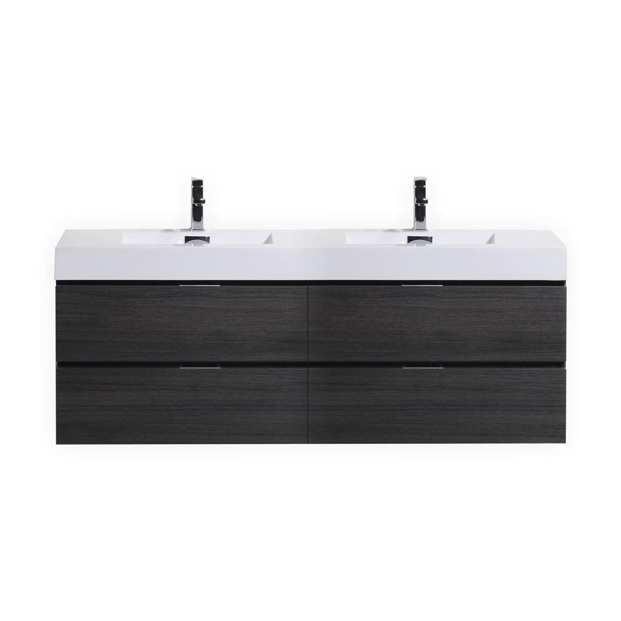 Bliss 80 Gray Oak Wall Mount Double Sink Modern Bathroom Vanity