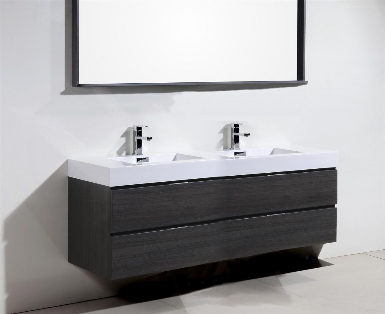 Bliss 80 Quot Gray Oak Wall Mount Double Sink Modern Bathroom