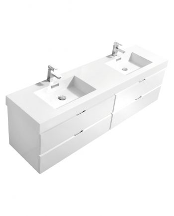 "Bliss 80"" High Gloss White Wall Mount Single Sink Modern Bathroom Vanity"