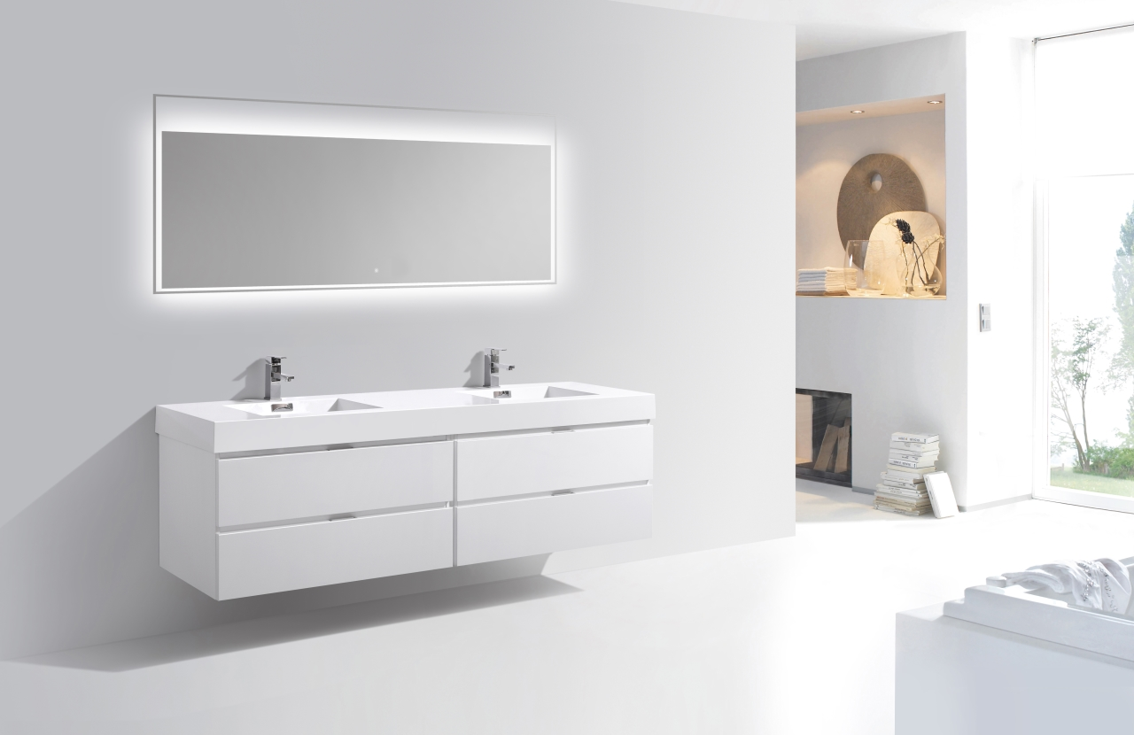Bliss 80 Quot High Gloss White Wall Mount Single Sink Vanity