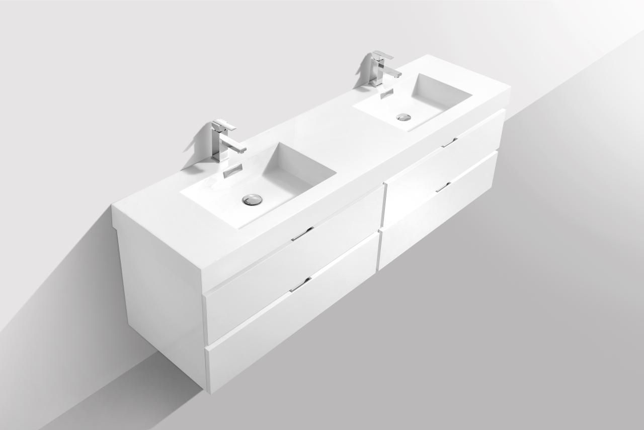 "Bliss 80"" High Gloss White Wall Mount Single Sink Vanity"