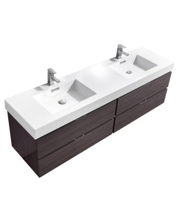 "Bliss 80"" High Gloss Gray Oak Wall Mount Double Sink Modern Bathroom Vanity"