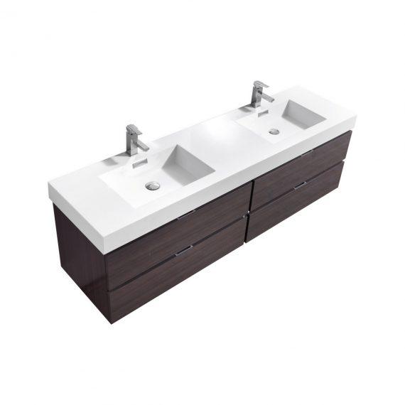 "Bliss 80"" High Gloss Gray Oak Wall Mount Double Sink Modern Bathroom Vanity"