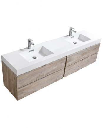 "Bliss 80"" Nature Wood Wall Mount Double Sink Modern Bathroom Vanity"