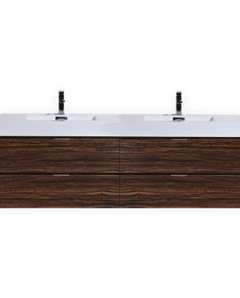 "Bliss 80"" Walnut Wall Mount Double Sink Modern Bathroom Vanity"