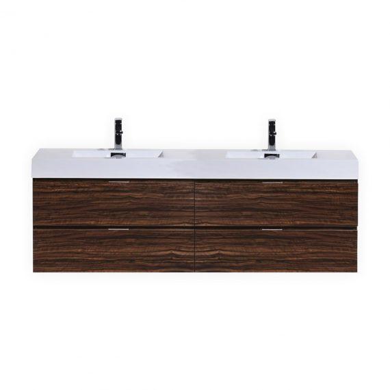 """Bliss 80"""" Walnut Wall Mount Double Sink Modern Bathroom Vanity"""