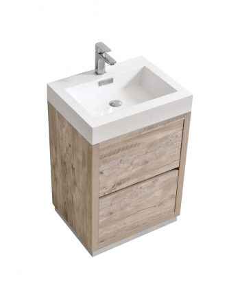 "Bliss 24"" Nature Wood Floor Mount Modern Bathroom Vanity"