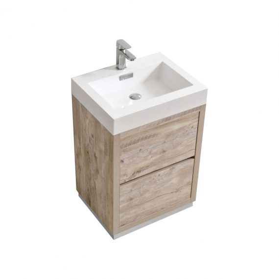 "Bliss 24"" Nature Wood Floor Mount Modern Bathroom Vanity"