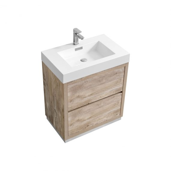 "Bliss 30"" Nature Wood Floor Mount Modern Bathroom Vanity"