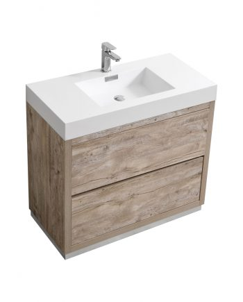 "Bliss 36"" Nature Wood Floor Mount Modern Bathroom Vanity"