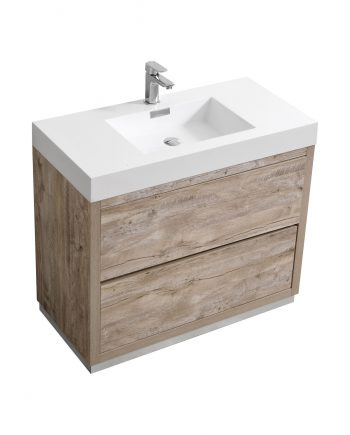 "Bliss 40"" Nature Wood Floor Mount Modern Bathroom Vanity"