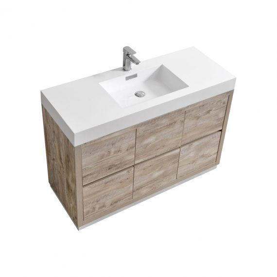 "Bliss 48"" Nature Wood Floor Mount Modern Bathroom Vanity"
