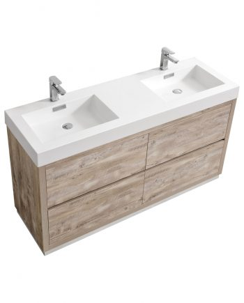 "Bliss 60"" Nature Wood Floor Mount Modern Bathroom Vanity"
