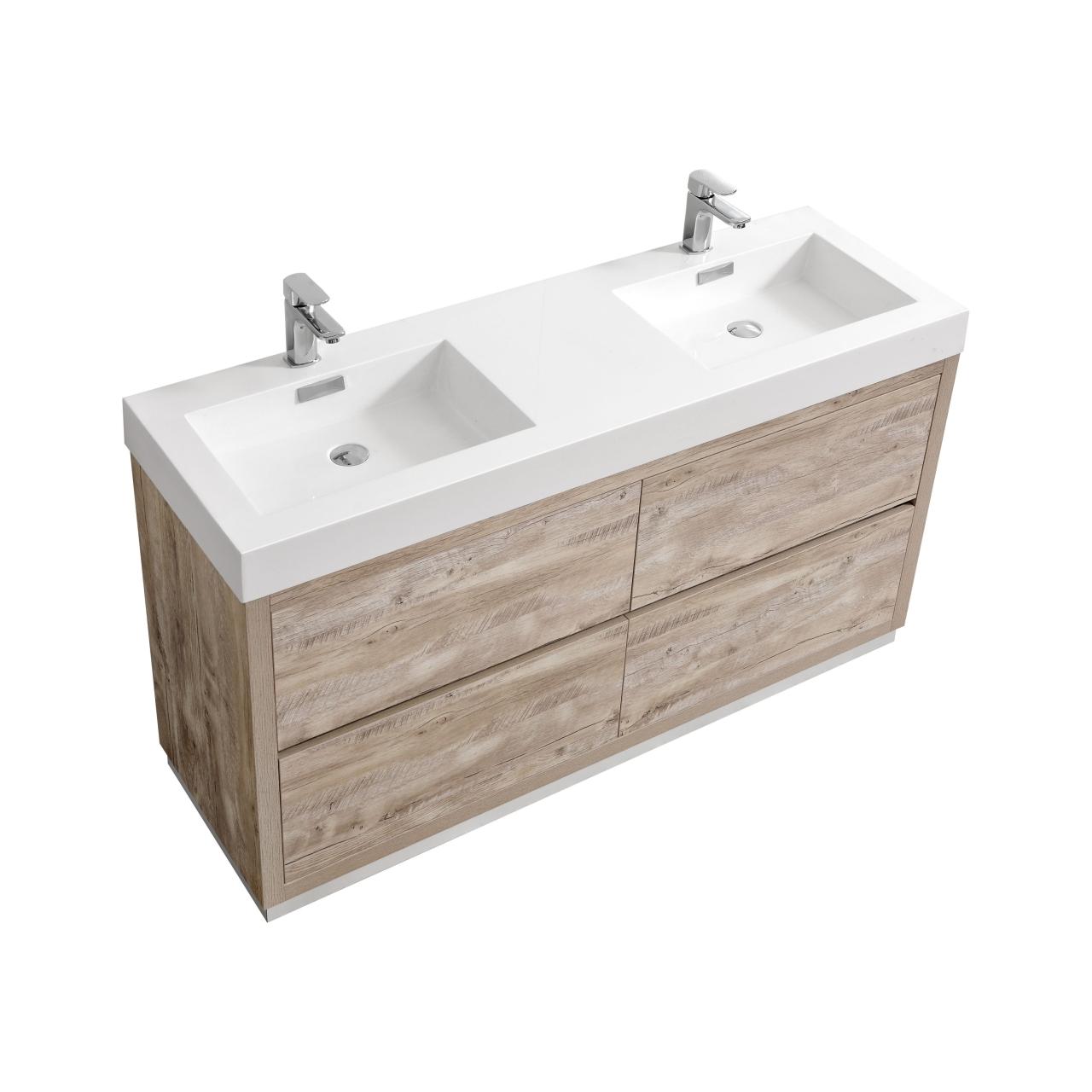 "Bliss 60"" Nature Wood Floor Mount Modern Bathroom Vanity"