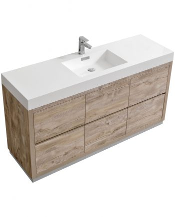 "Bliss 60"" Single Sink Floor Mount Nature Wood Modern Bathroom Vanity"