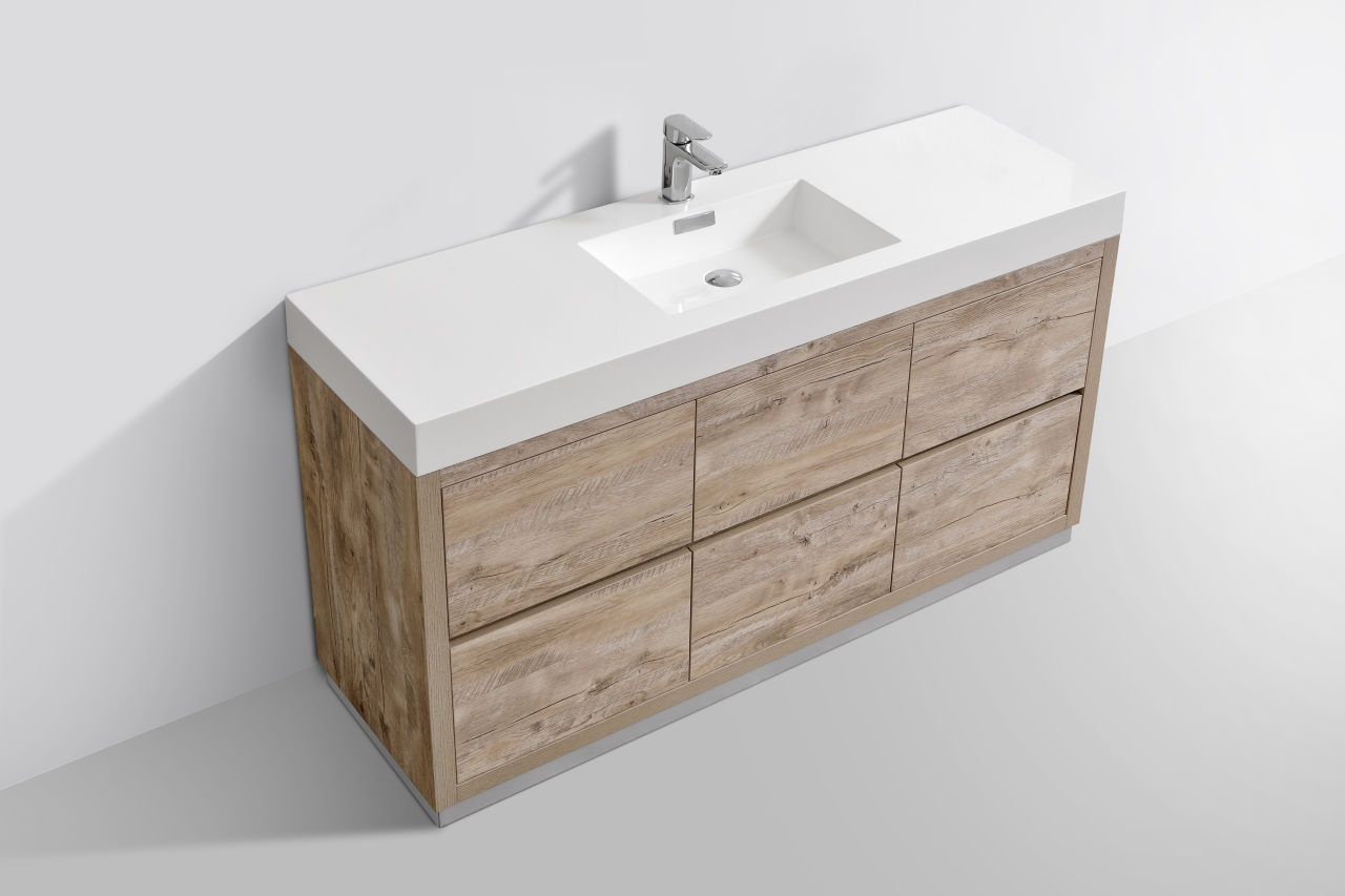 Bliss 60 Quot Single Sink Floor Mount Nature Wood Modern
