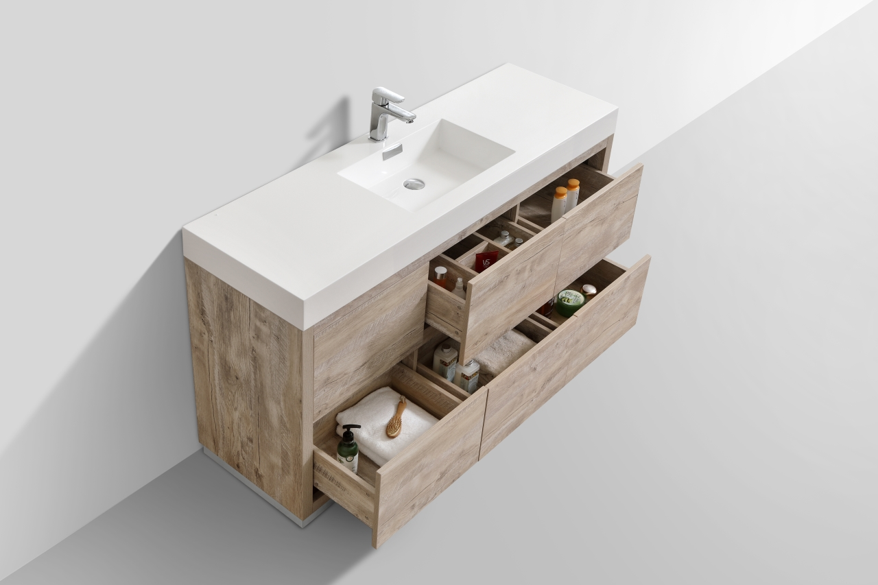 Bliss 60 Quot Single Sink Floor Mount Nature Wood Modern