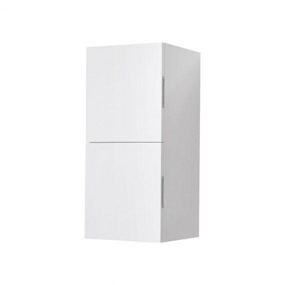 Bathroom High Gloss White Linen Side Cabinet w/ 2 Storage Areas