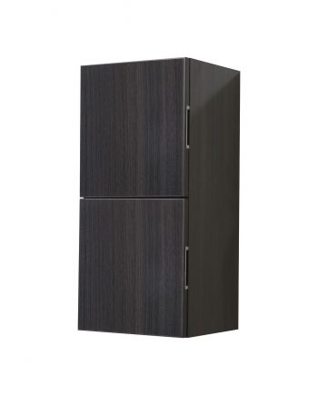 Bathroom High Gloss Gray Oak Linen Side Cabinet w/ 2 Storage Areas