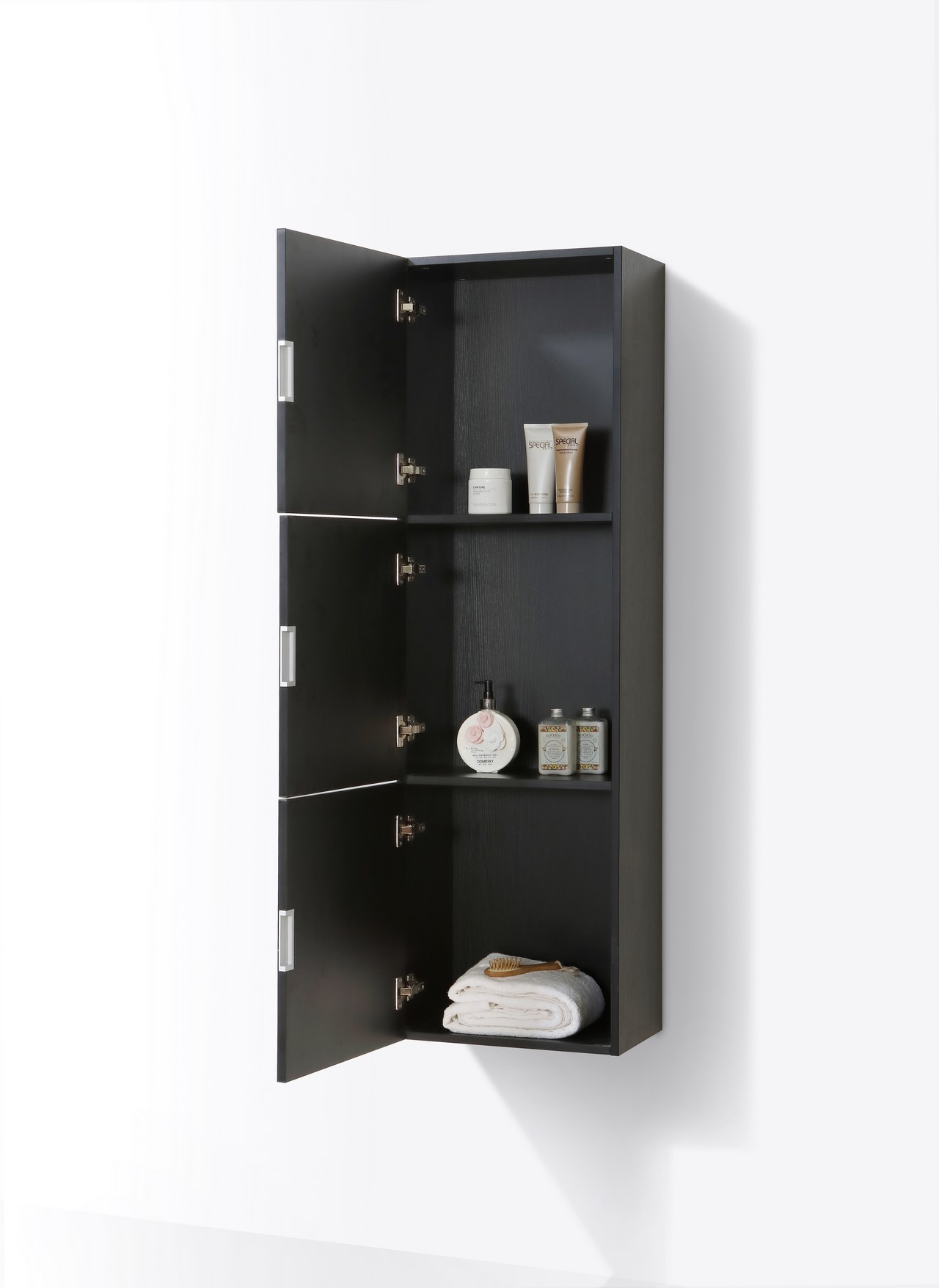Bathroom Black Wood Linen Side Cabinet W 3 Large Storage