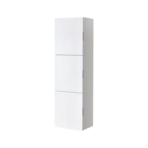 Bathroom High Gloss White Linen Side Cabinet w/ 3 Large Storage Areas
