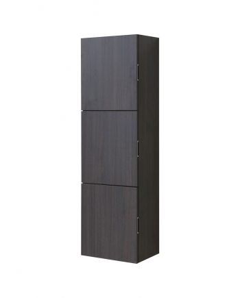 Bathroom High Gloss Gray Oak Linen Side Cabinet w/ 3 Large Storage Areas