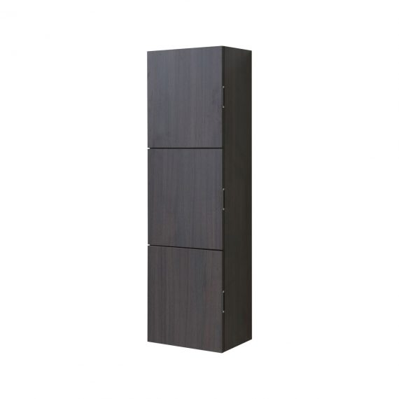 Bathroom High Gloss Gray Oak Linen Side Cabinet w/ 3 Large Storage Areas