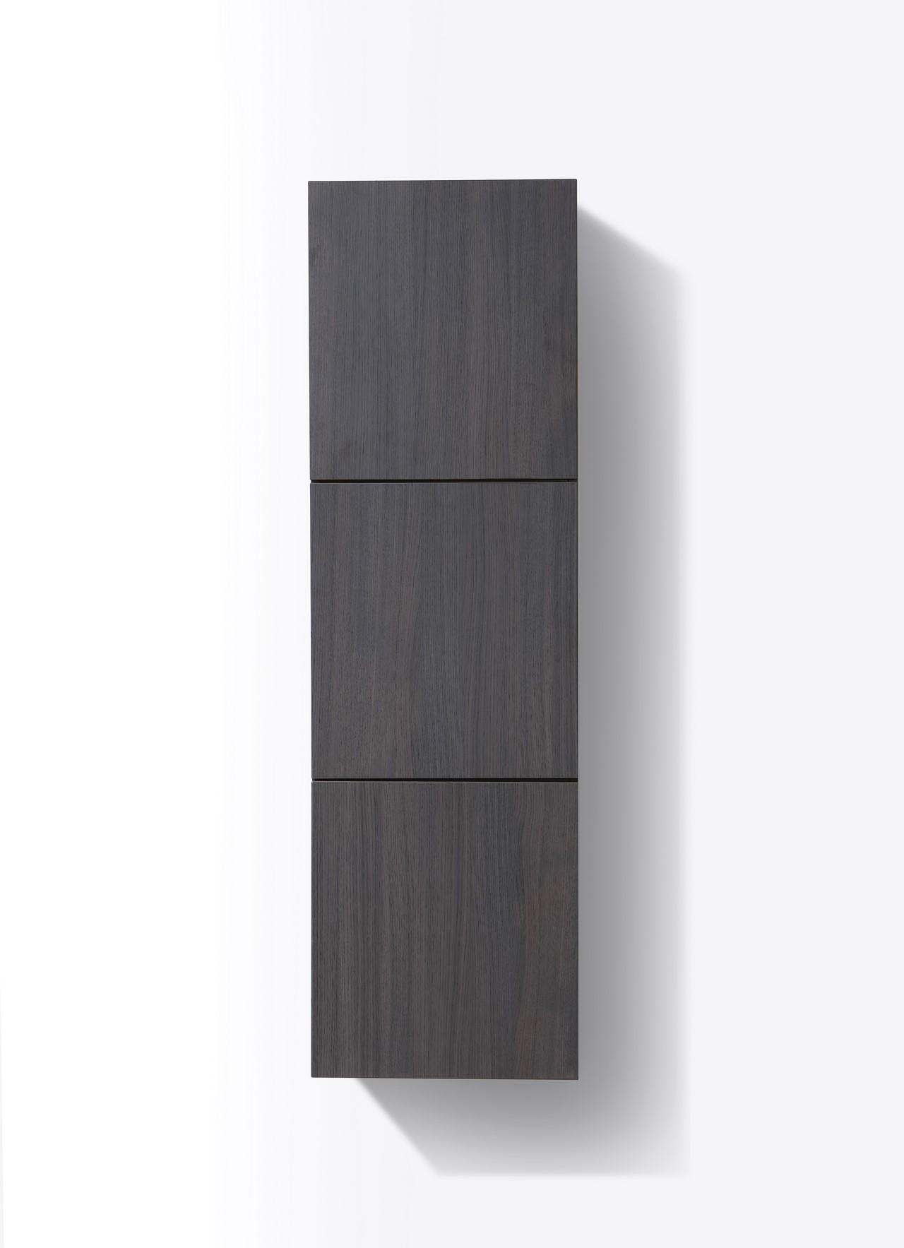 Bathroom High Gloss Gray Oak Linen Side Cabinet W 3 Large