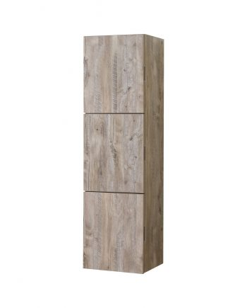 Bathroom Nature Wood Linen Side Cabinet w/ 3 Large Storage Areas