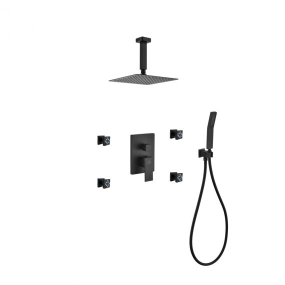 "Aqua Piazza Black Shower Set w/ 8"" Ceiling Mount Square Rain Shower, Handheld and 4 Body Jets"